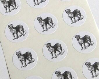 Dog Stickers - One Inch Big Dog Round Seals