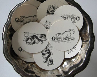 Cat and Kitten Tags Round Gift Tags Set of 10