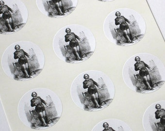 Shakespeare Stickers One Inch Round Seals