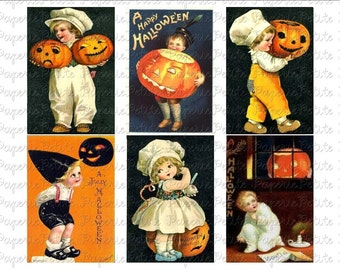 Halloween Postcard Digital Download Collage Sheet A 2.75 x 4 inch