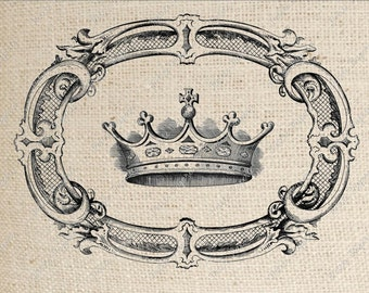 Crown in Oval Frame Digital Download Iron on Transfer