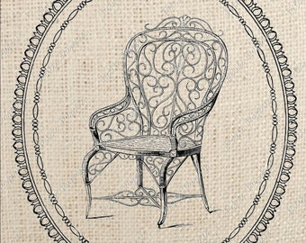 Digital Download Iron On Transfer French Chair B