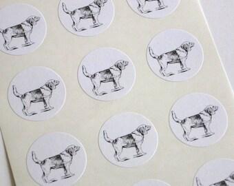 Beagle Dog Stickers One Inch Round Seals