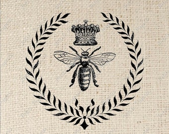 Queen Bee with Laurel Leaves Digital Download Iron on Transfer
