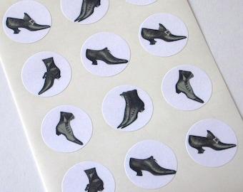 Vintage Shoe Stickers - Round Seals - One Inch