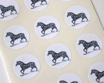 Zebra Stickers One Inch Round Seals