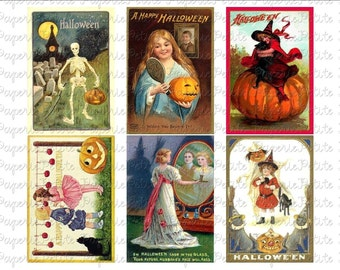 Halloween Postcard Digital Download Collage Sheet G 2.75 x 4 inch