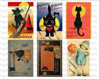 Vintage Halloween Postcards Digital Download Collage Sheet C 2.75 x 4 inch