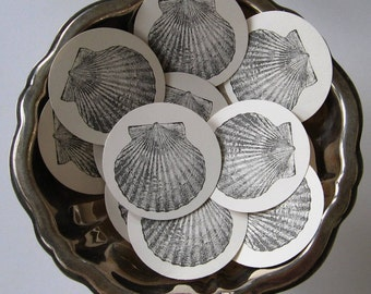 Scalloped Shell Tags Round Gift Tags Set of 10