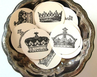 Crown Tags Round Gift Tags Set of 10