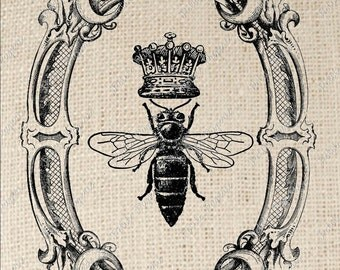 Queen Bee in Oval Frame Digital Download or Iron on Transfer