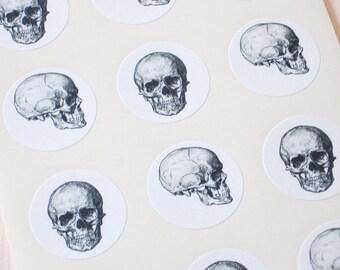 Skull Stickers One Inch Round Seals
