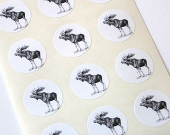 Moose Stickers - One Inch Round Seals