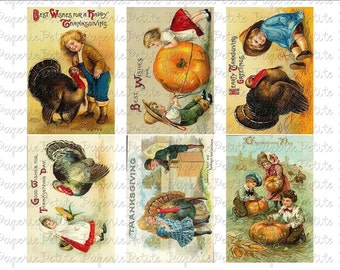 Thanksgiving Postcards Digital Download Collage Sheet C 2.75 x 4 inch