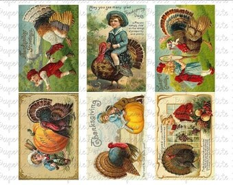 Thanksgiving Postcards Digital Download Collage Sheet F 2.75 x 4 inch