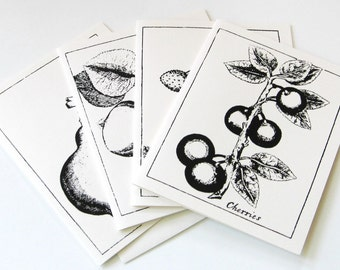 Vintage Fruit Botanical Note Cards Stationery Set of 12 Cards