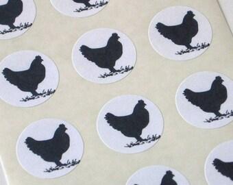 Chicken Stickers One Inch Round Seals