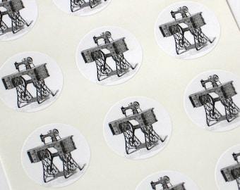 Sewing Machine Stickers One Inch Round Seals
