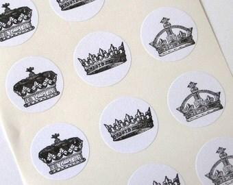 Crown Stickers - One Inch Round Seals