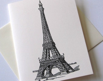 Set of 10 Eiffel Tower Notecards