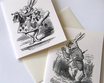 Alice in Wonderland Rabbits Note Cards - Set of 4