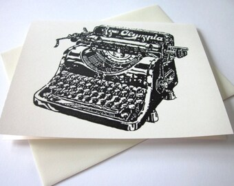 Vintage Typewriter Note Cards Set of 10 in White or Ivory with Matching Envelopes