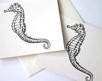Seahorse Note Cards Set of 10 in White or Ivory with Matching Envelopes