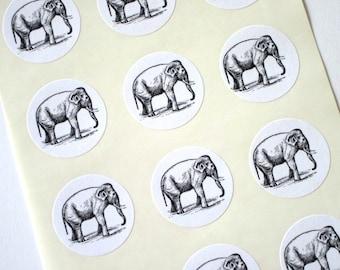 Elephant Stickers One Inch Round Seals