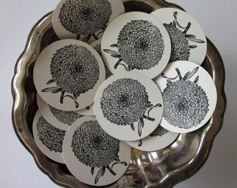 Asters Mums Flower Tags Round Gift Tags Set of 10