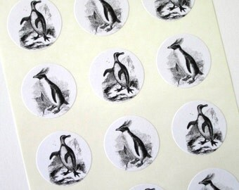 Penguin Stickers One Inch Round Seals