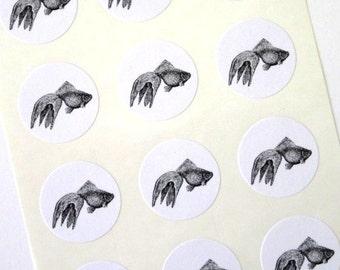 Goldfish Stickers One Inch Round Seals