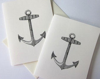 Anchor Note Cards Stationery Set of 10 Cards