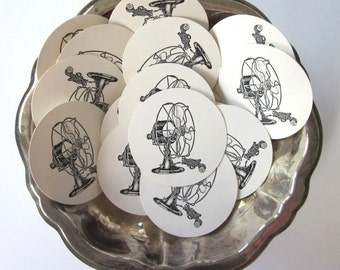 Vintage FanTags Round Gift Tags Set of 10