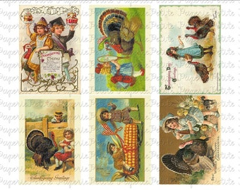 Thanksgiving Postcards Digital Download Collage Sheet D 2.75 x 4 inch