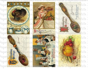Thanksgiving Postcards Digital Download Collage Sheet E 2.75 x 4 inch