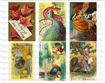 Thanksgiving Postcards Digital Download Collage Sheet G 2.75 x 4 inch