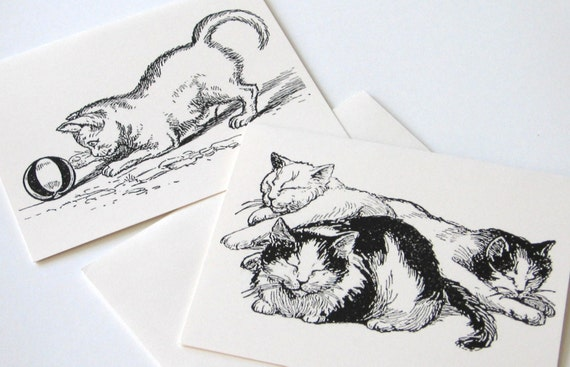 Cat and Kitten Note Cards - Set of 10