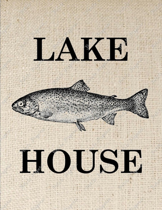 Trout Fish Lake House Digital Download for Iron on Transfer