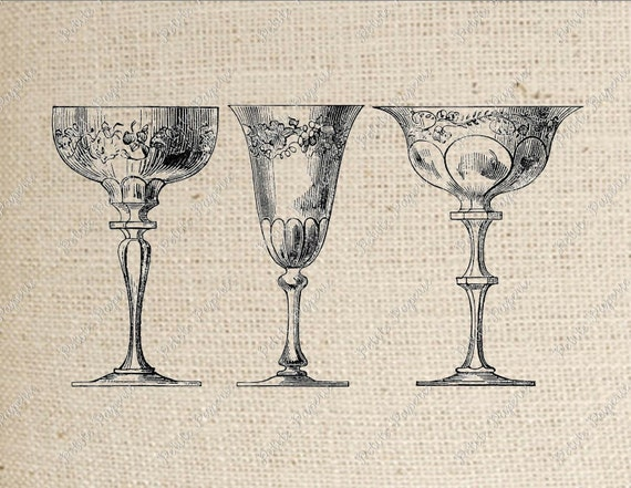 Crystal Goblets Digital Download Iron on Transfer B