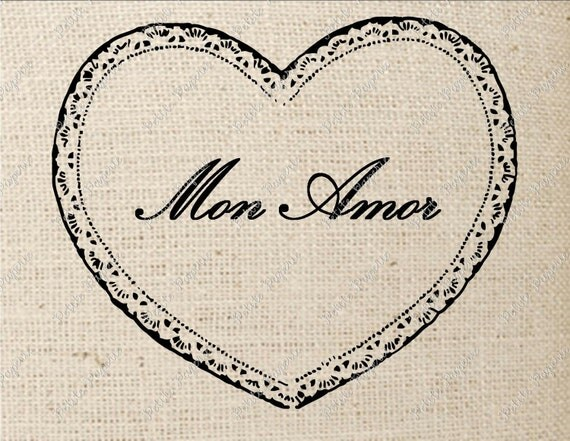 Digital Download for Iron on Transfer French Heart Mon Amor My Love