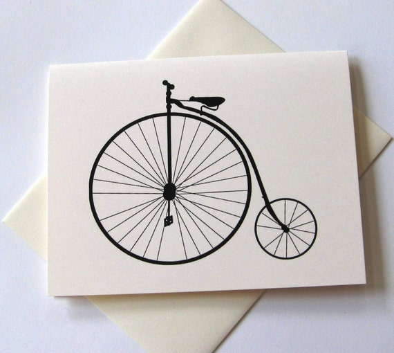 Penny Farthing Bicycle Note Cards Stationery Set of 10