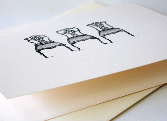 Vintage Chairs Note Cards Stationery Set of 10 Cards