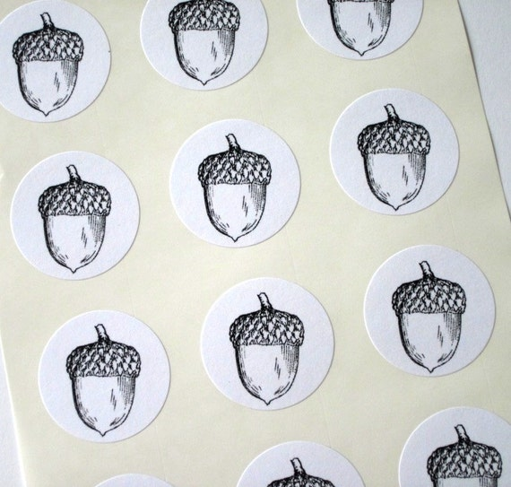 Acorn Stickers One Inch Round Seals
