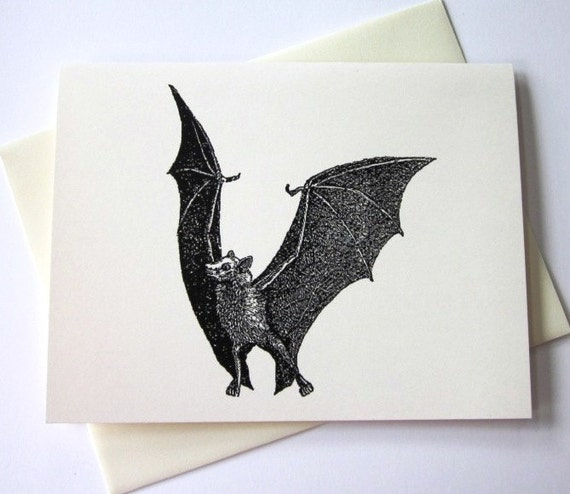 Bat Note Cards Set of 10 in White or Ivory with Matching Envelopes