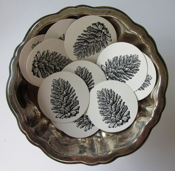 pine cone tags round gift tags set of 10