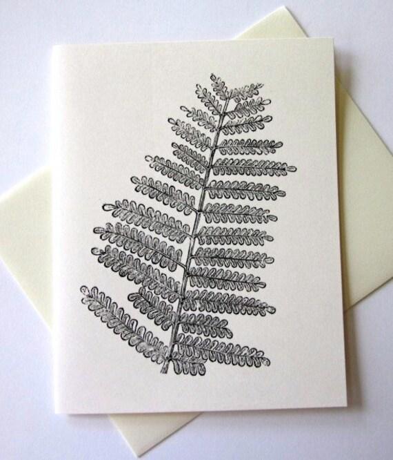 Fern Leaf Note Cards Stationery Set of 10 Cards