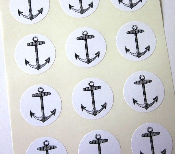 Anchor Stickers One Inch Round Seals