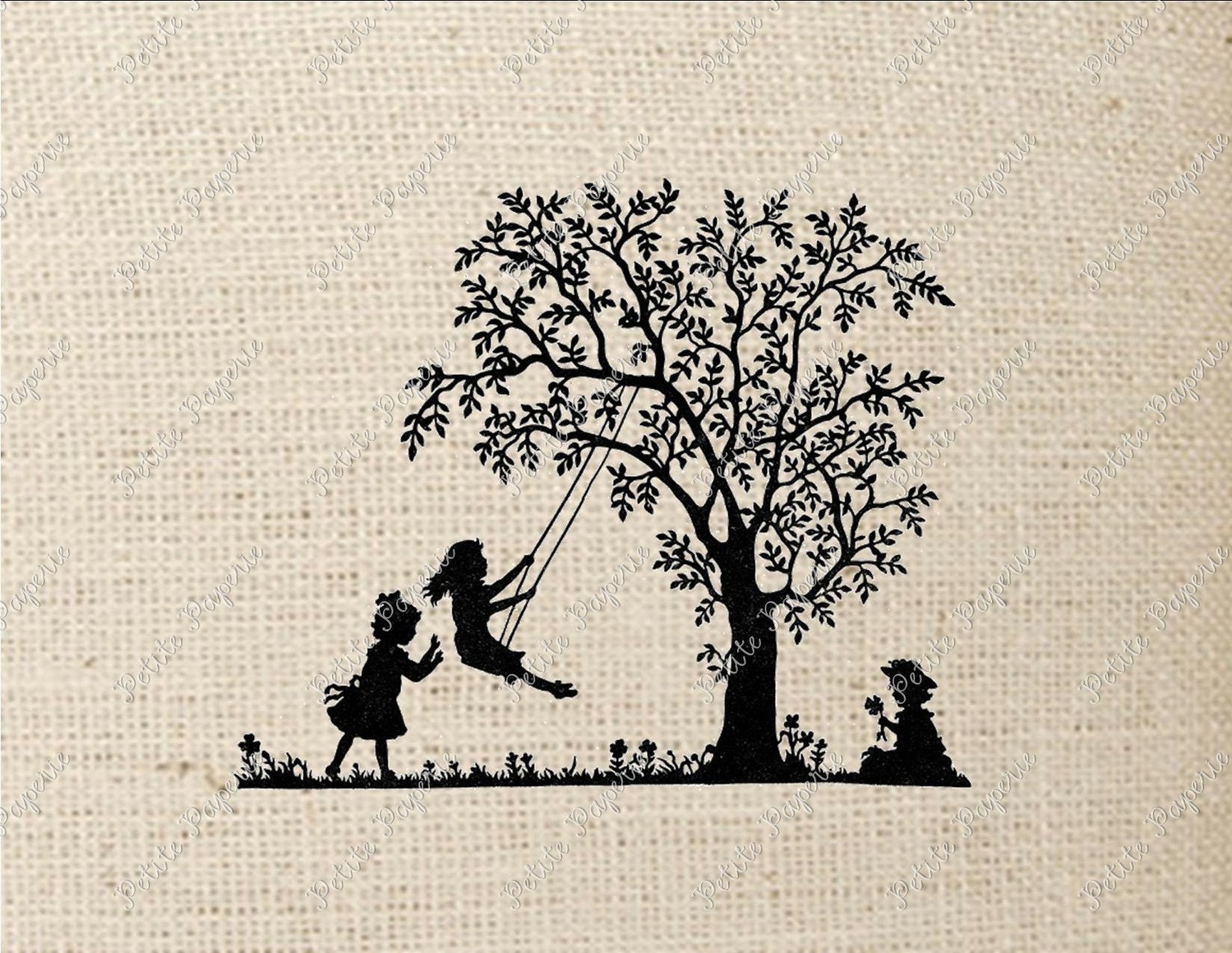 Swing Tattoo: Silhouette Children Playing Tree Swing Digital Download Or