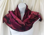SALE. Velvet Scarf .. paisley red magenta..60 inches x 11 inches..