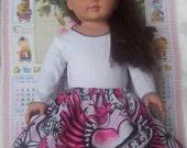 American girl doll skirt with skulls